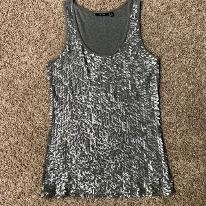 Apt 9 silver rectangle sequins tank